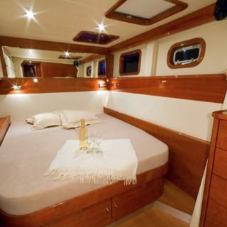 Guest cabin on a larger crewed catamaran