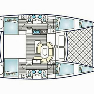 Lagoon 450 layout - four doubles and crew quarters in the bow