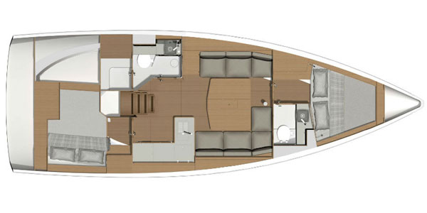 Dufour 390 2-cabin layout