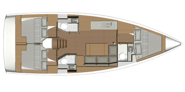 Dufour 390 3-cabin layout
