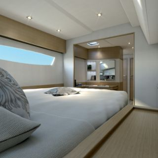 Spacious double cabin on the Saba 50