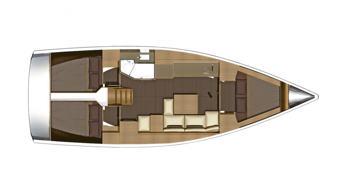 Dufour 350 - 3 Cabin Layout