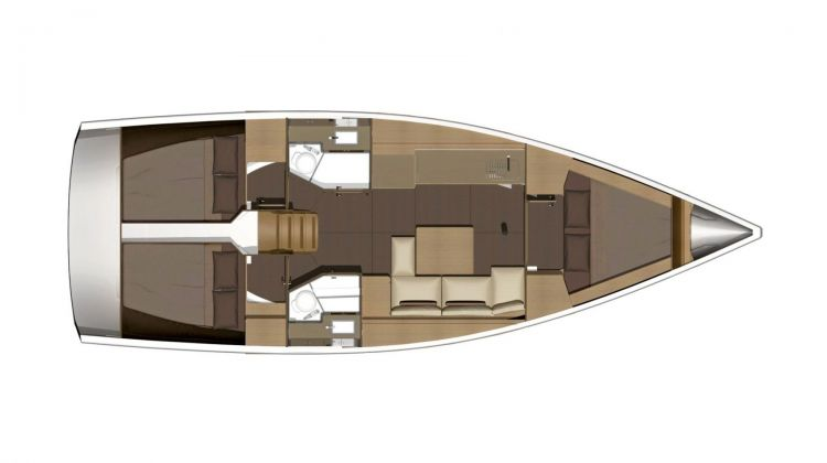 Dufour 382 - 3 Cabin Layout