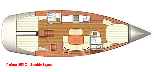 Dufour 455 - 3 Cabin Layout
