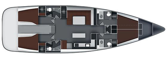 Bavaria 55 - 4 Cabin Layout