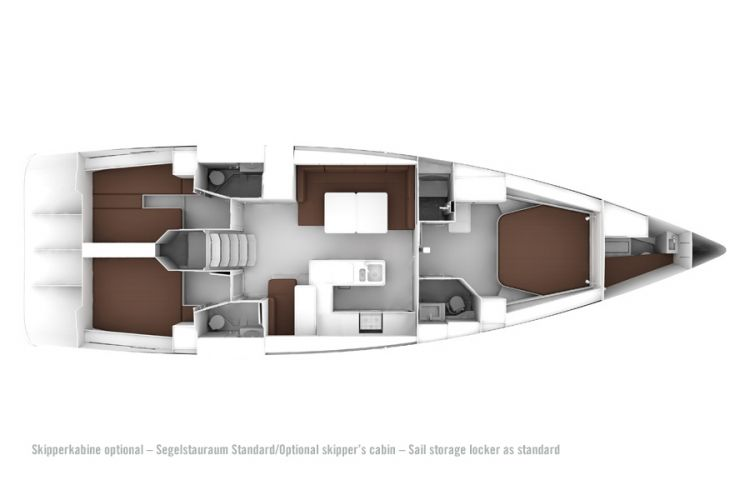 Bavaria 56 Layout - 5+1 cabin