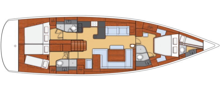 Oceanis 60 - 3+1 Cabin Layout