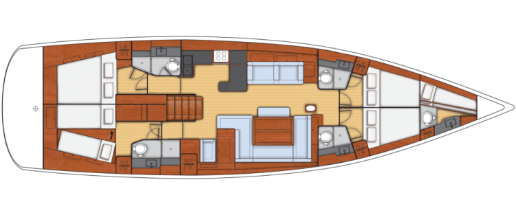 Oceanis 60 - 4+1 Cabin Layout