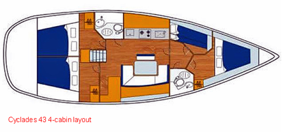 Cylades 43 - 4 Cabin