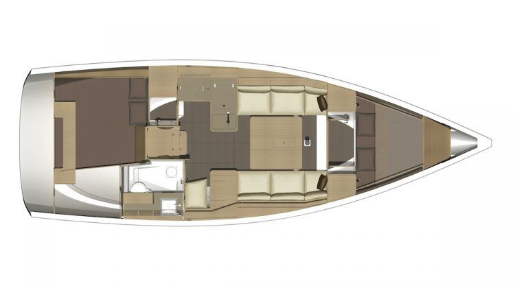 Dufour 350 - 2 Cabin Layout