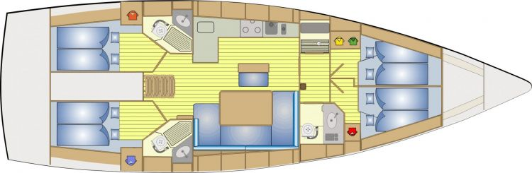 Bavaria 46 - 4 Cabin Layout