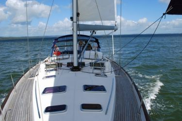 Beneteau 57 deck from forward